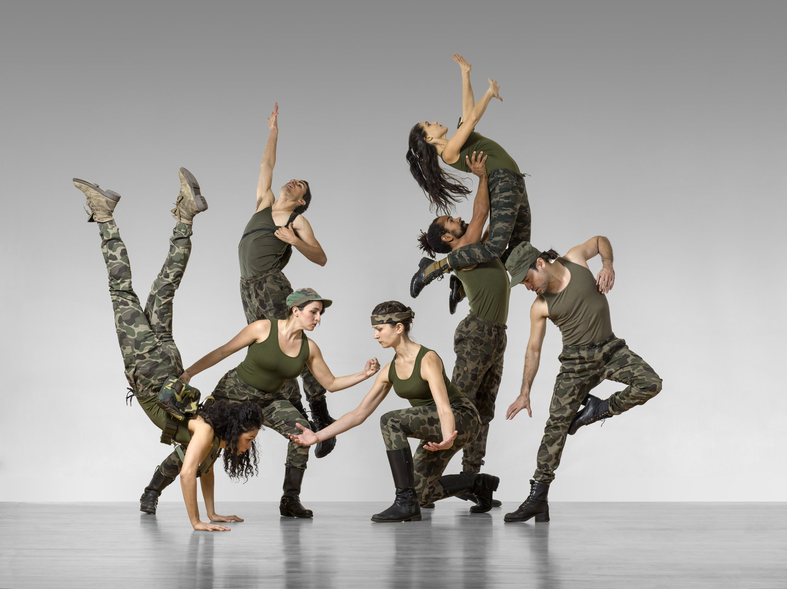 """The Company rehearsing to Pete Seeger's war protest song,""""Big Muddy"""" from   Turn Turn Turn  . Image Copyright Lois Greenfield 2017."""