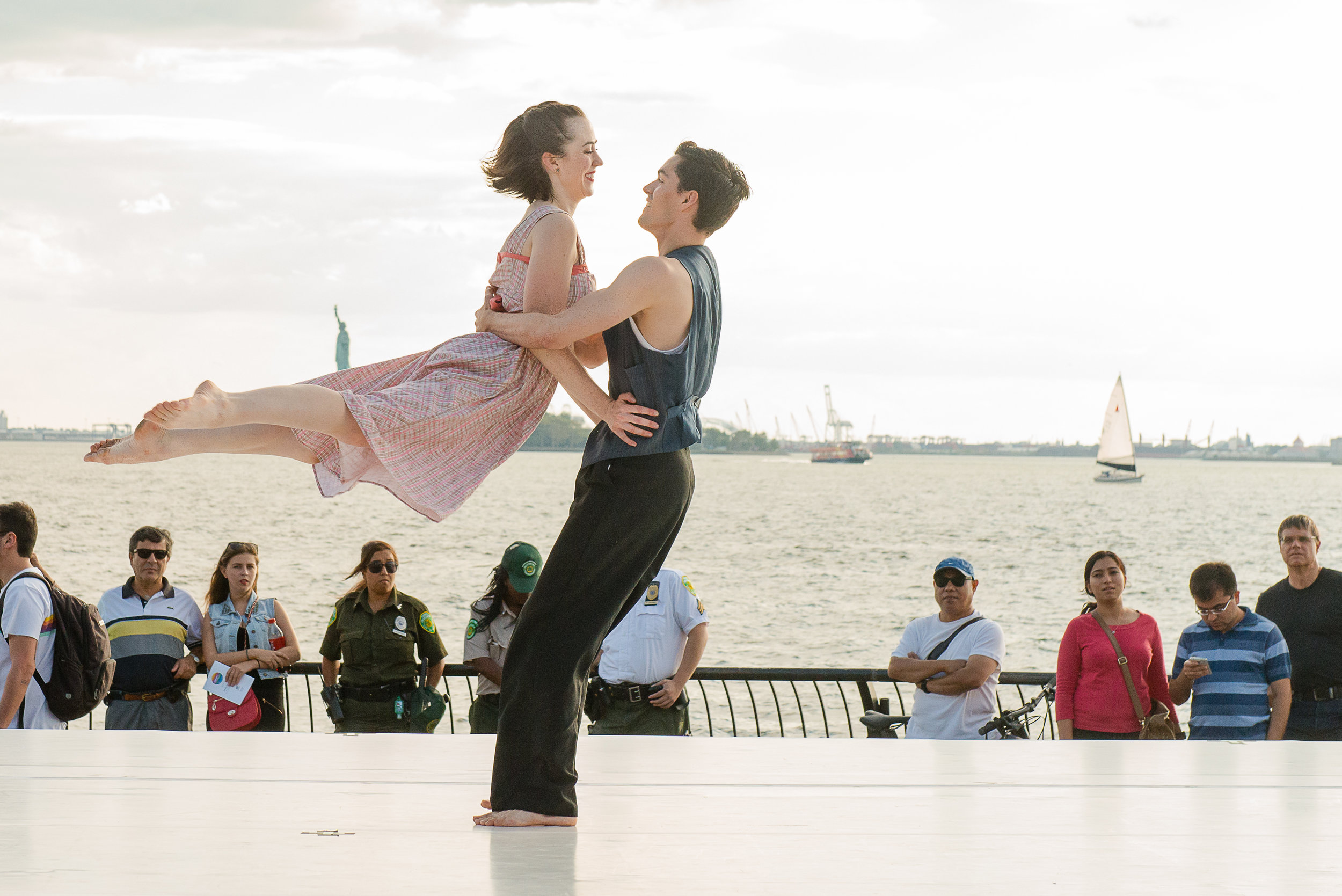Photo from Turn Turn Turn of dance duo, Samantha and Brian Lawton at the Downtown Dance Festival at Battery Park, 2014. Photographed by Dariel Sneed.