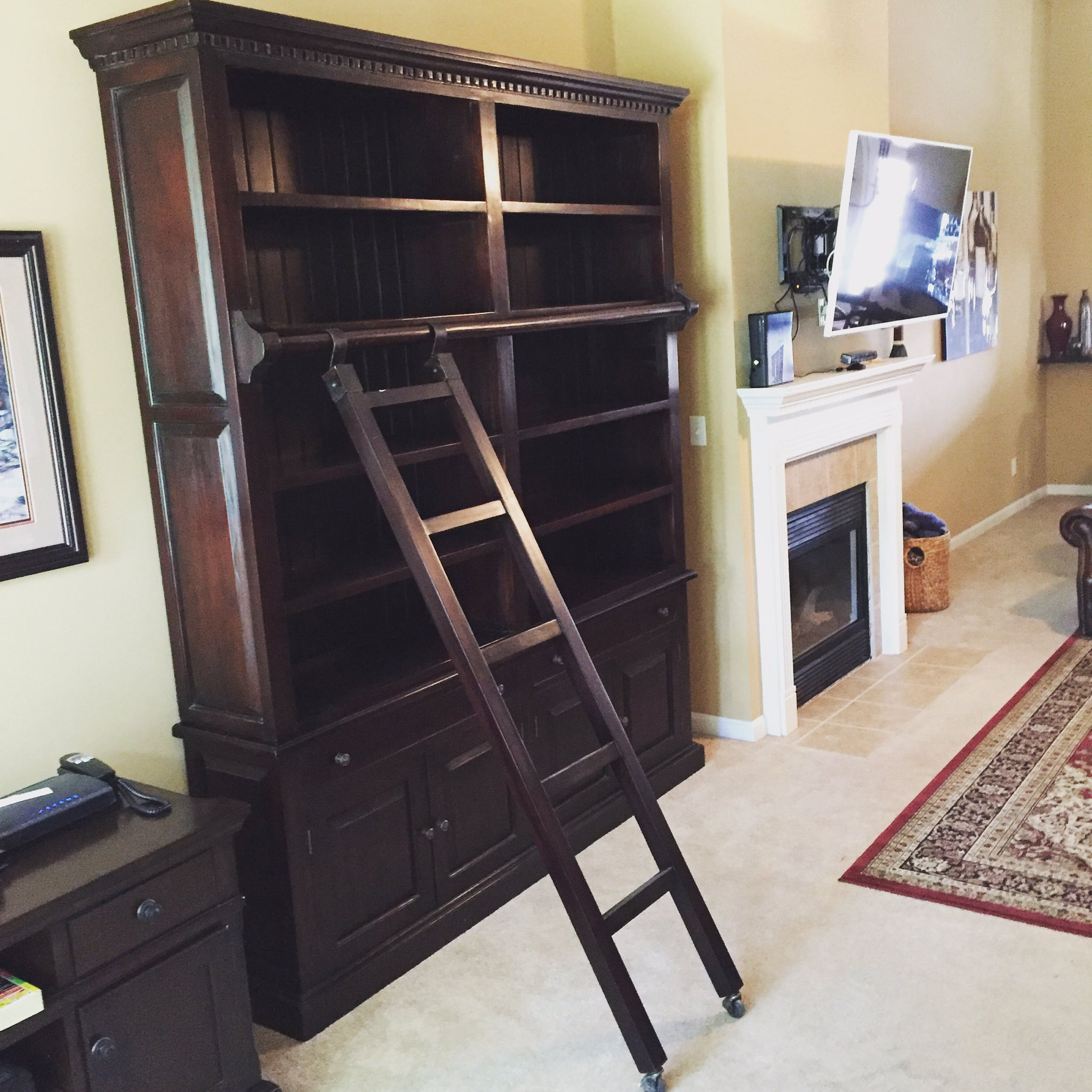 25786 Edwardian Library Bookcase with Ladder