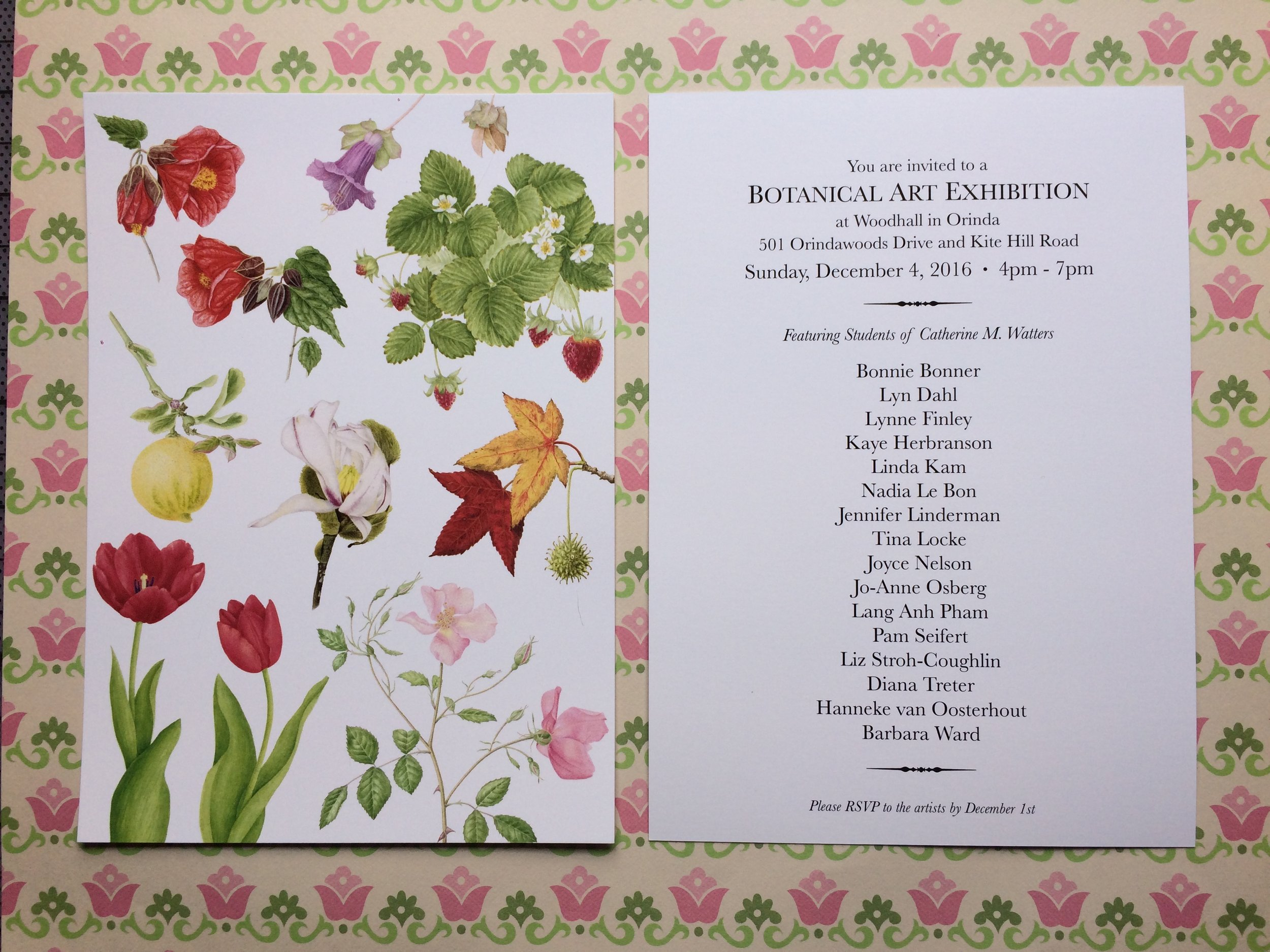 I am participating in my Botanic Illustration student show and will be in the company of other amazing artists who will be displaying their works of art. There will be watercolor and colored pencil pieces.  Join us for an evening of great art, food and drinks and purchase a signed copy of my new coloring book, Botanimals: A Coloring Book of Flora and Fauna which is now available on Amazon!