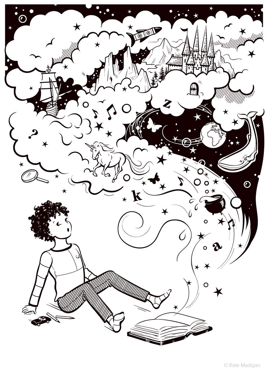 Line drawing depicting a small girl watching in astonishment as a magical world representing different genres of literature bursts out of an open book: includes stars, clouds, unicorn, butterfly, whale, space, planet, bubbles, cauldron, musical notes, letters of the alphabet, magnifying glass, sailing ship, sailboat, tall ship, birds, mountains, fairytale castle, spaceship, rocket, caves, toy car, crayons. Black and white, monochrome. Detective fiction, non-fiction, animal stories, magic, science fiction, sci-fi, adventure, historical novels, action, mystery, reference, learning. Copyright Kate Madigan.