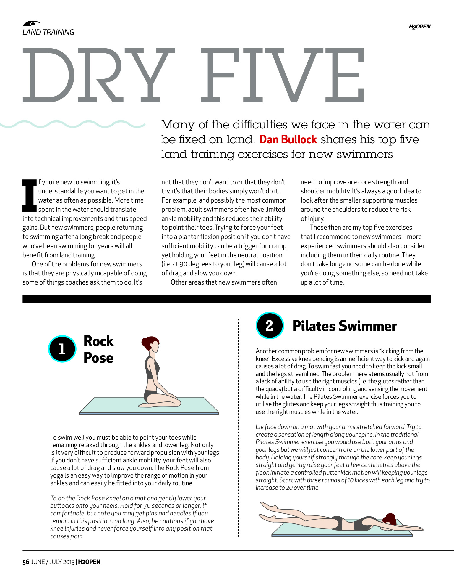 Editorial work: tiny fitness illustrations for open water swimming magazine   H2Open: yoga, pilates, flexibility, strength, posture  .  Illustrations copyright Kate Madigan.