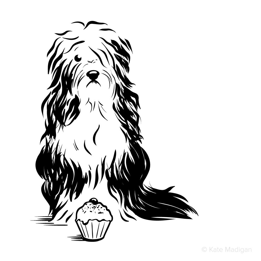 Black and white drawing of a sad, melancholy, depressed, gloomy  Old English Sheepdog (Dulux dog) contemplating a cupcake  . Copyright Kate Madigan.