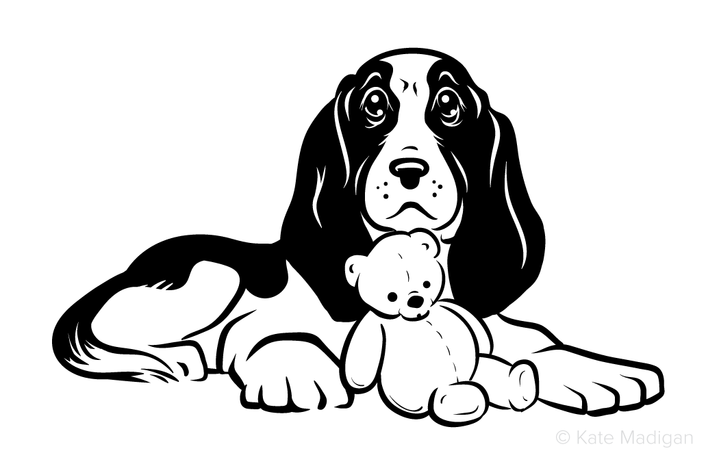 Black and white drawing of a sad beagle dog or foxhound with a teddy bear  . Copyright Kate Madigan.