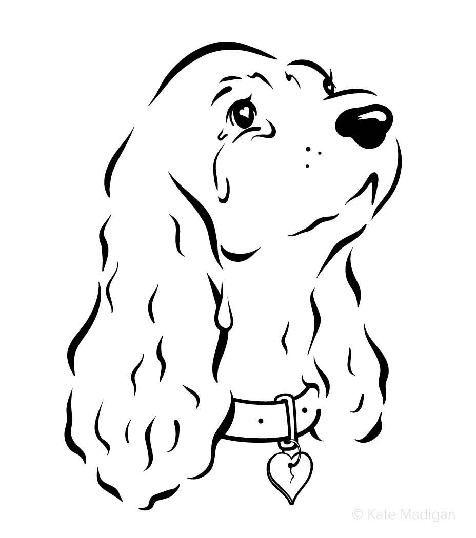 Black and white line drawing of a broken-hearted, lovelorn, tearful spaniel dog.   Copyright Kate Madigan.