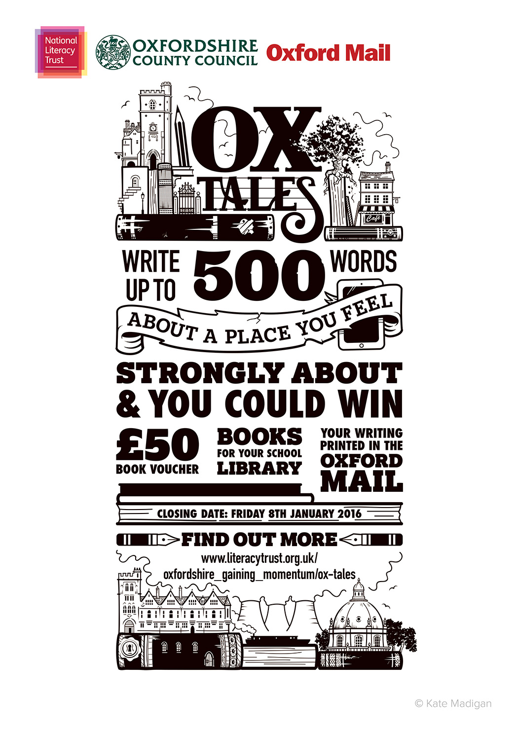 A3 poster design for the National Literacy Trust, featuring Oxfordshire landmarks (Carfax Tower, cafes, Brasenose College, Didcot Power Station, the Radcliffe Camera, a canal boat), books, pens, pencils, a tablet computer or phone and decorative typography.Copyright Kate Madigan.