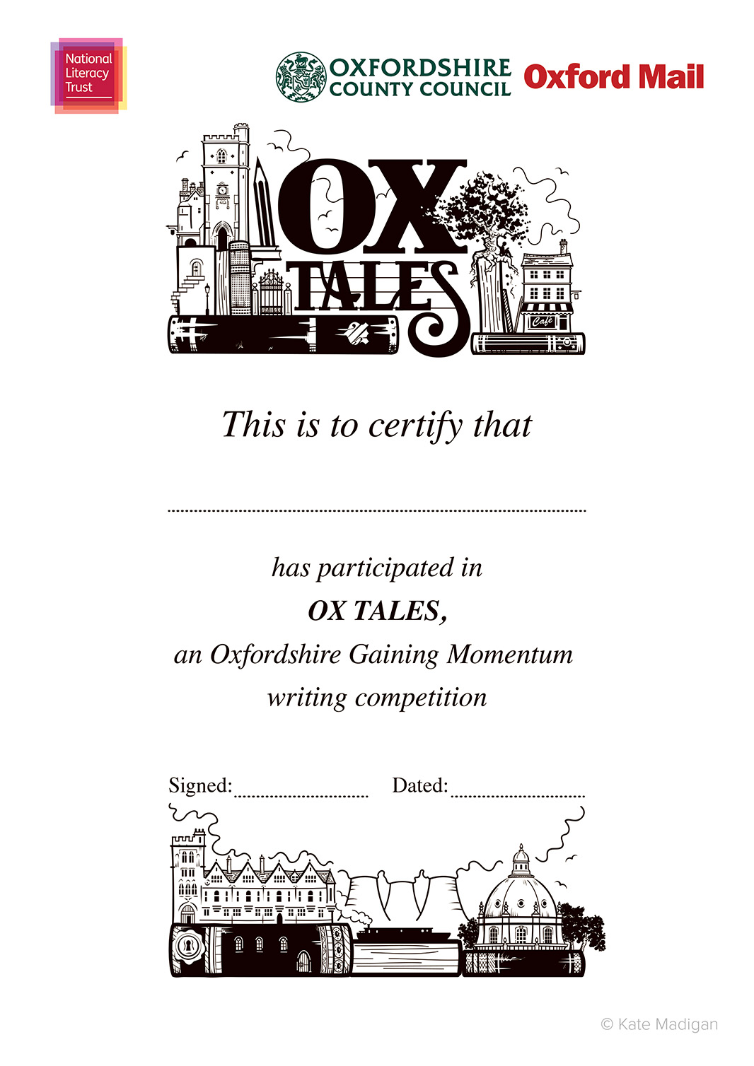Participants' certificate design for the National Literacy Trust, featuring Oxfordshire landmarks (Carfax Tower, cafes, Brasenose College, Didcot Power Station, the Radcliffe Camera, a canal boat  ), books, pens, pencils, a tablet computer or phone  and decorative typography  .Copyright Kate Madigan.