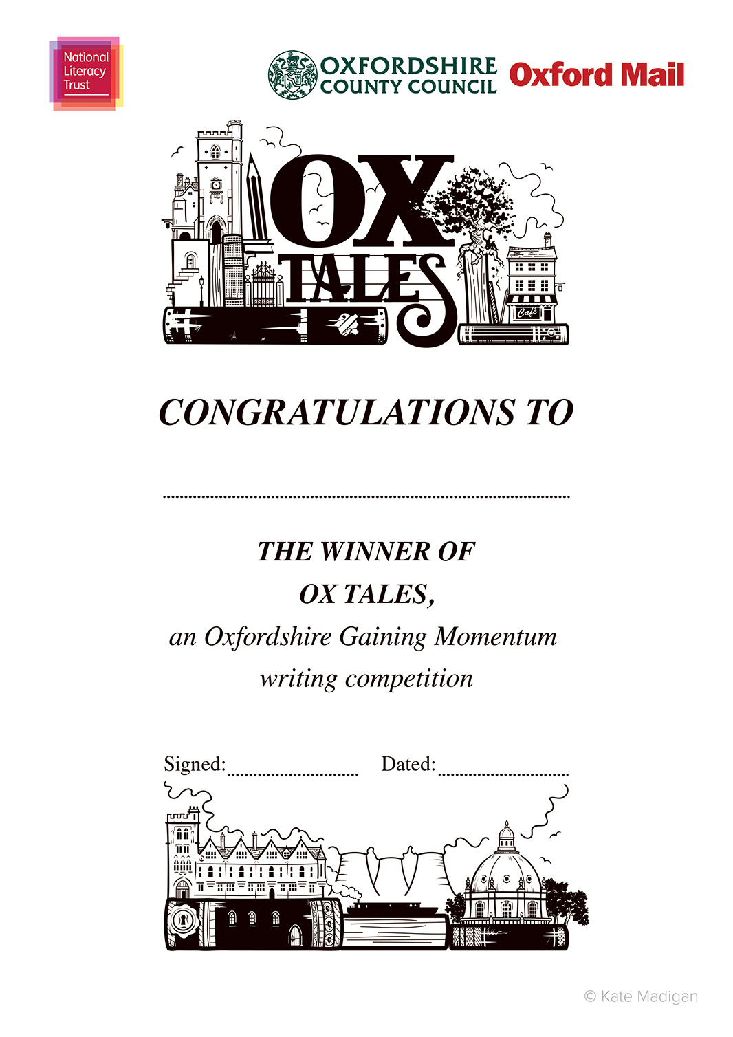 Winner's certificate design for the National Literacy Trust, featuring Oxfordshire landmarks (Carfax Tower, cafes, Brasenose College, Didcot Power Station, the Radcliffe Camera, a canal boat  ), books, pens, pencils, a tablet computer or phone  and decorative typography  .Copyright Kate Madigan.