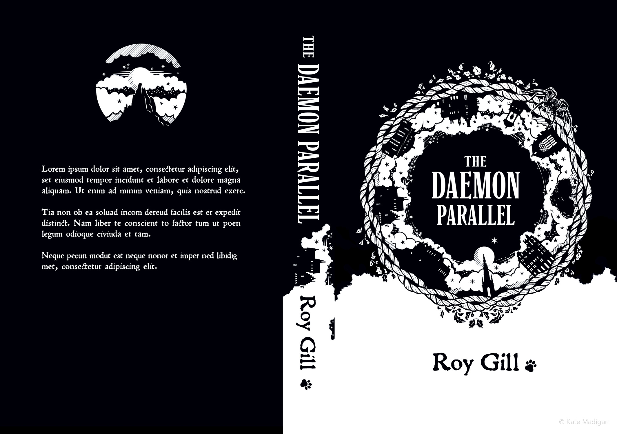 Imagined, alternative cover for Roy Gill's debut novel The Daemon Parallel, featuring motifs and locations from the book (twisted wool, ivy and vegetation, deer in a forest, the full moon, a spider, the Scott Monument in Edinburgh, Jenners Department Store, Edinburgh Castle, the Heave Awa' Hoose  tenement building, an art deco cinema, a shop in the Old Town, St Bernard's Well, Holyrood Chapel, a paw print and a magical cloudscape  ).    Illustration copyright Kate Madigan.
