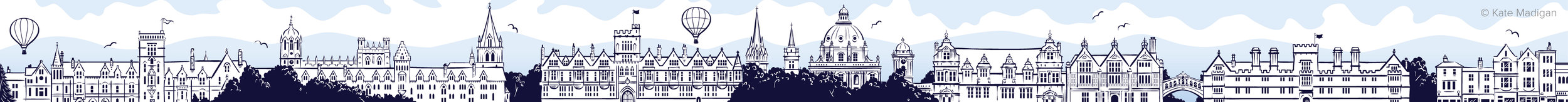 Illustrated web banner for Oxford International College depicting the Oxford city skyline. Left to right: Balliol College,Christ Church College, Brasenose College, University Church of St Mary, Lincoln College,the Radcliffe Camera, Queen's College,Trinity College,the Ruskin School of Art, the Bridge of Sighs (Hertford College), Wadham College, shops on Broad Street.  Copyright Kate Madigan.