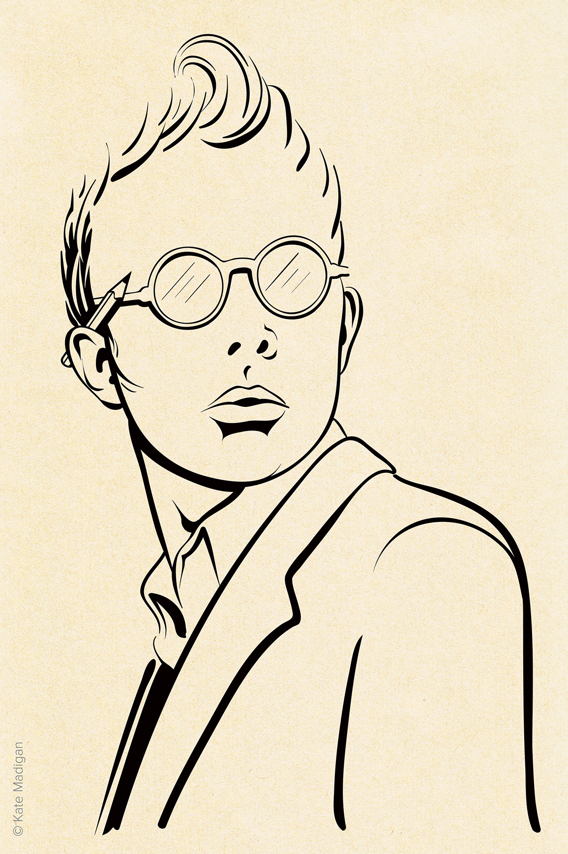 Simple line drawing of an undergraduate in a blazer and round spectacles, his hair in a quiff, a pencil tucked behind his ear, in Blackwell's Bookshop, Oxford. Created as part of my solo exhibition. Copyright Kate Madigan.