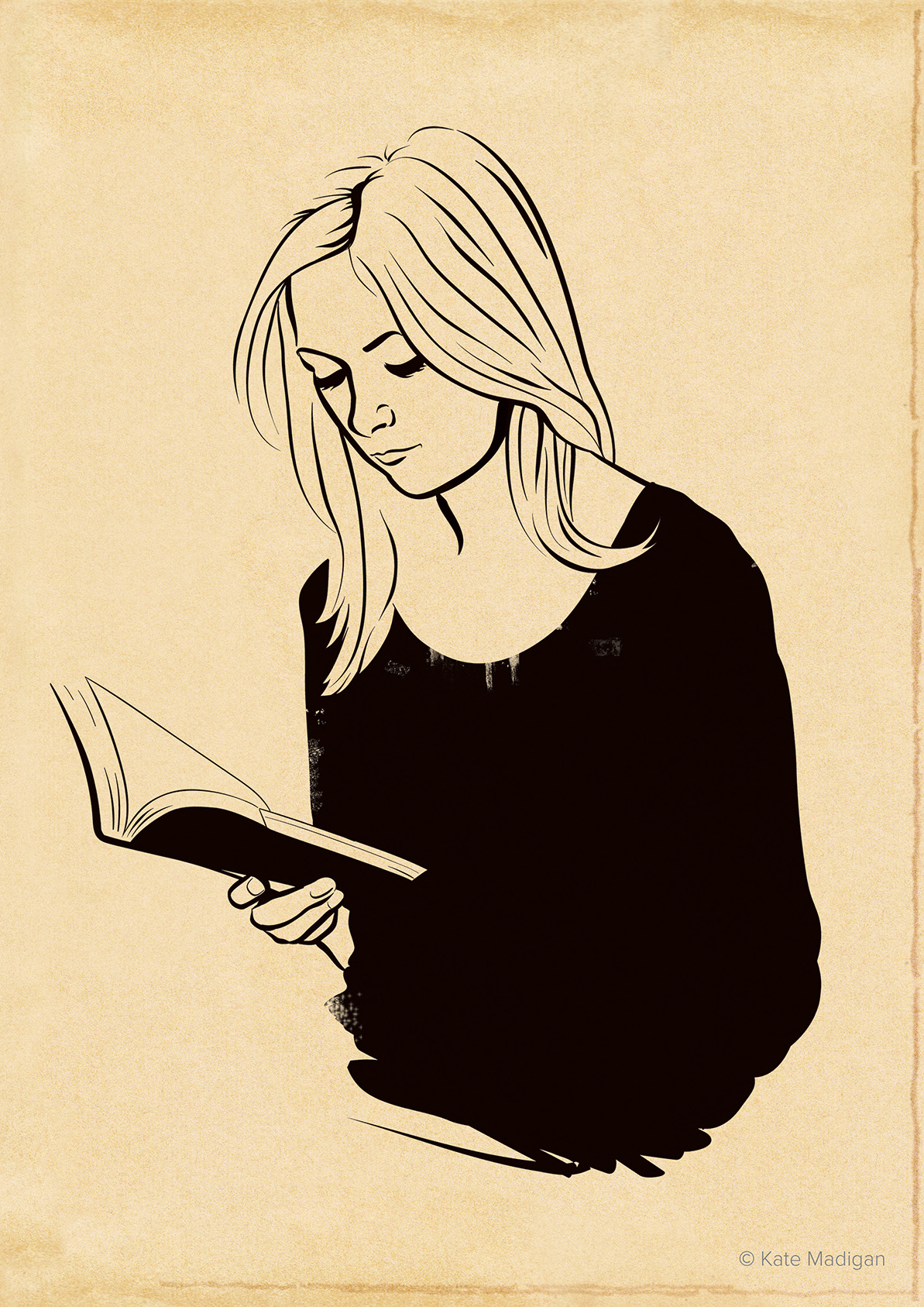 Portrait of Steph, one of the staff at Blackwell's, immersed in a book.. Line drawing on toned, distressed paper. Copyright Kate Madigan.