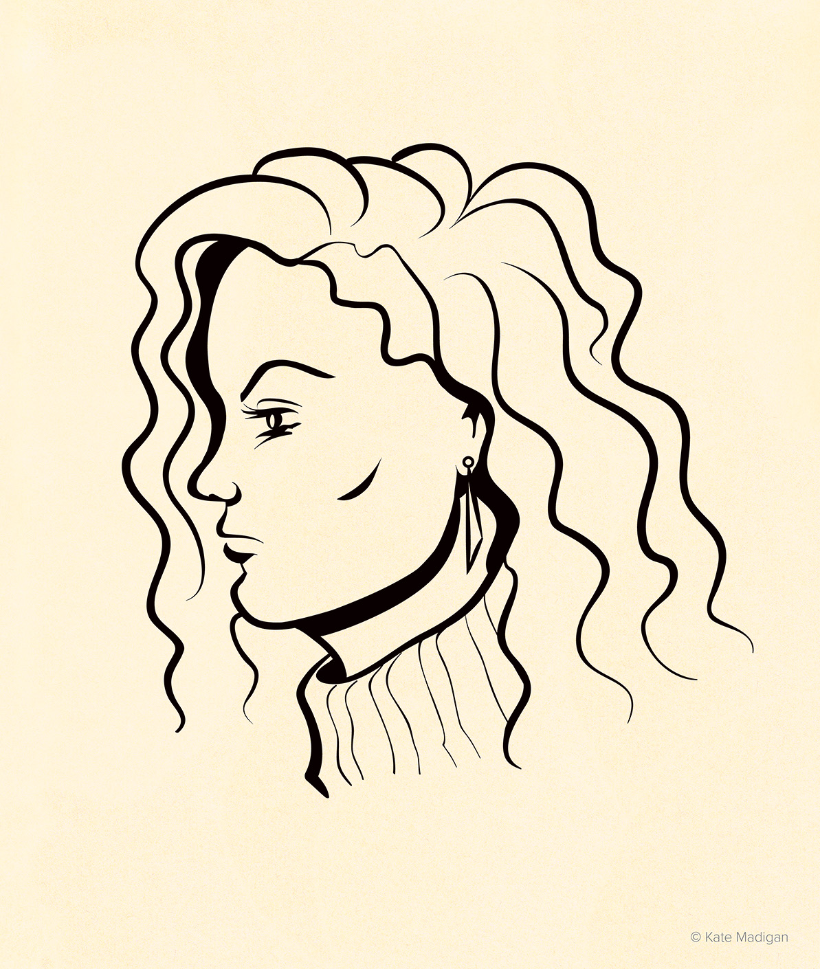 Portrait of a curly-haired student spotted in Blackwell's, Oxford. Created as part of my solo exhibition at Blackwell's Bookshop, Oxford. Copyright Kate Madigan.