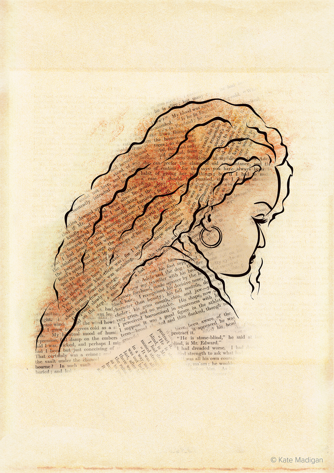 Line drawing of a red-haired woman absorbed in Charlotte Bronte's Jane Eyre. Passages from the book have been scanned in and used to shade her hair and clothing. Created as part of my solo exhibition at Blackwell's Bookshop Oxford.Copyright Kate Madigan.