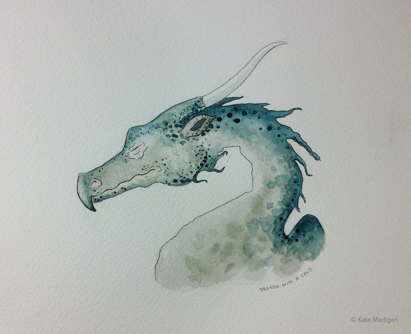 Dragon with a cold. Ink and watercolour. Copyright Kate Madigan.