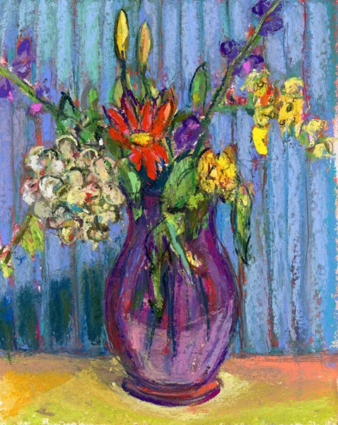 PURPLE VASE WITH BLUE HUE - PASTEL ON PAPER - 10x8 in