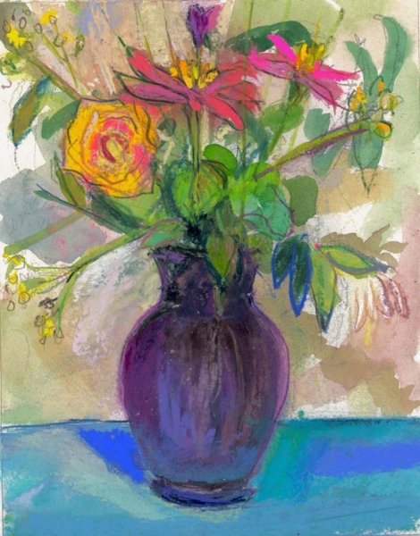 YELLOW ROSE IN PURPLE VASE - PASTEL ON PAPER