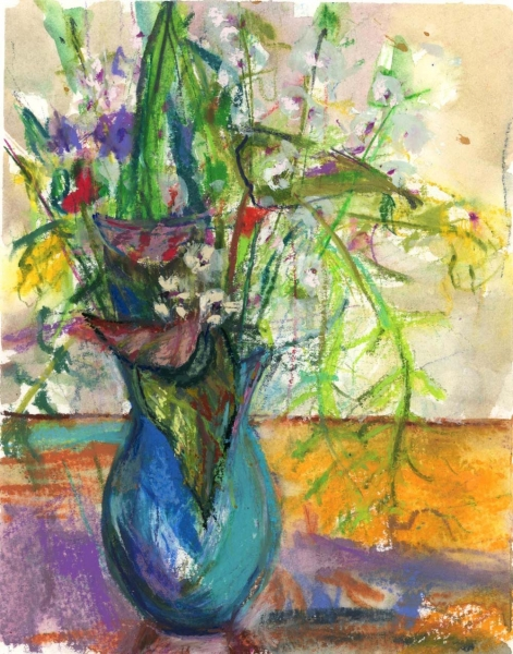 WILD FLOWERS IN BLUE VASE - PASTEL ON PAPER