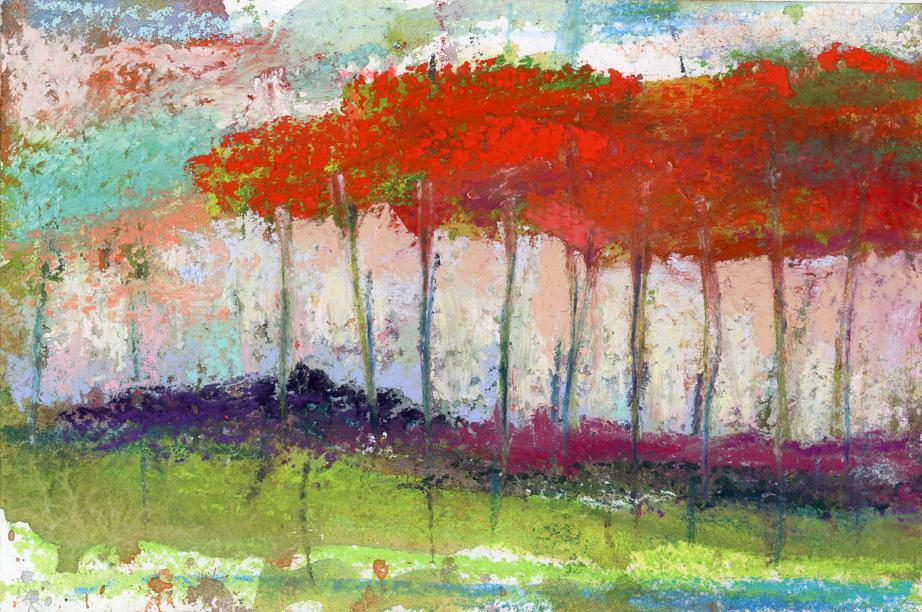 RAGING TREES - PASTEL ON PAPER