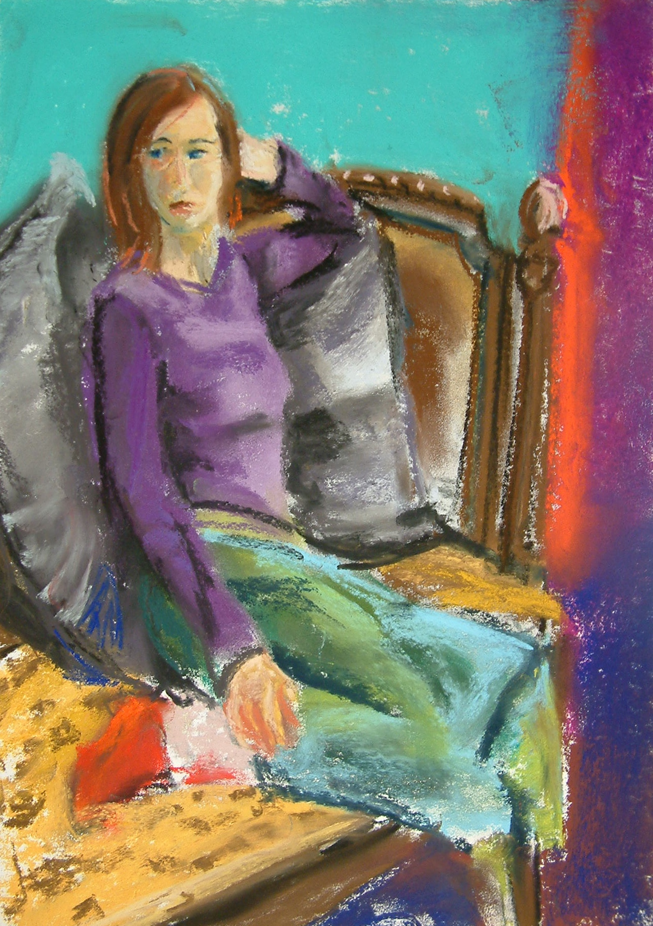 PURPLE TOP AND RED SOCK - PASTEL ON PAPER