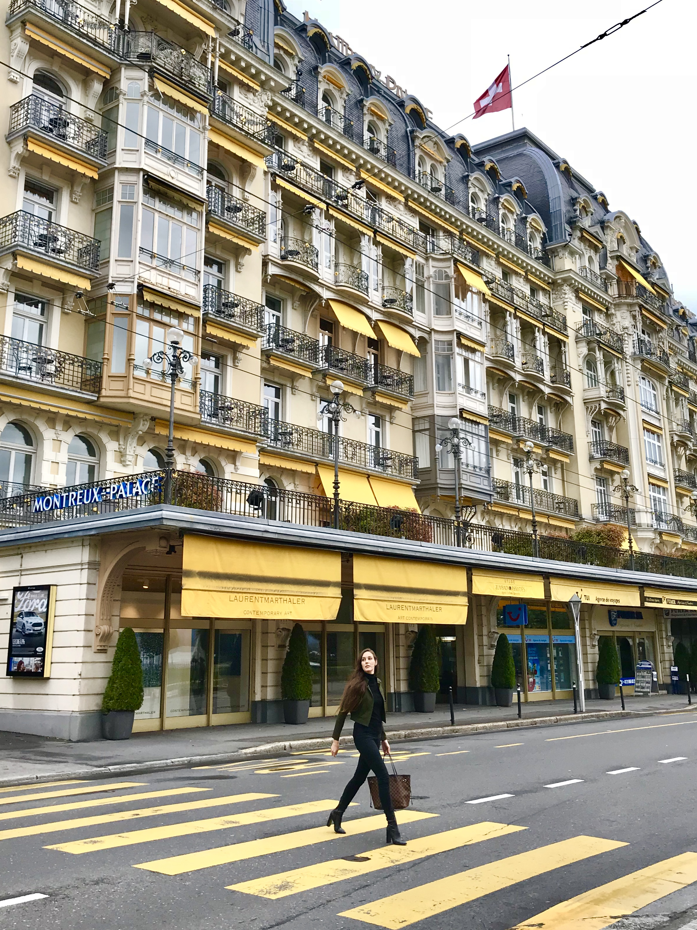 In front of the Fairmont Montreux Palace in Montreux, Switzerland