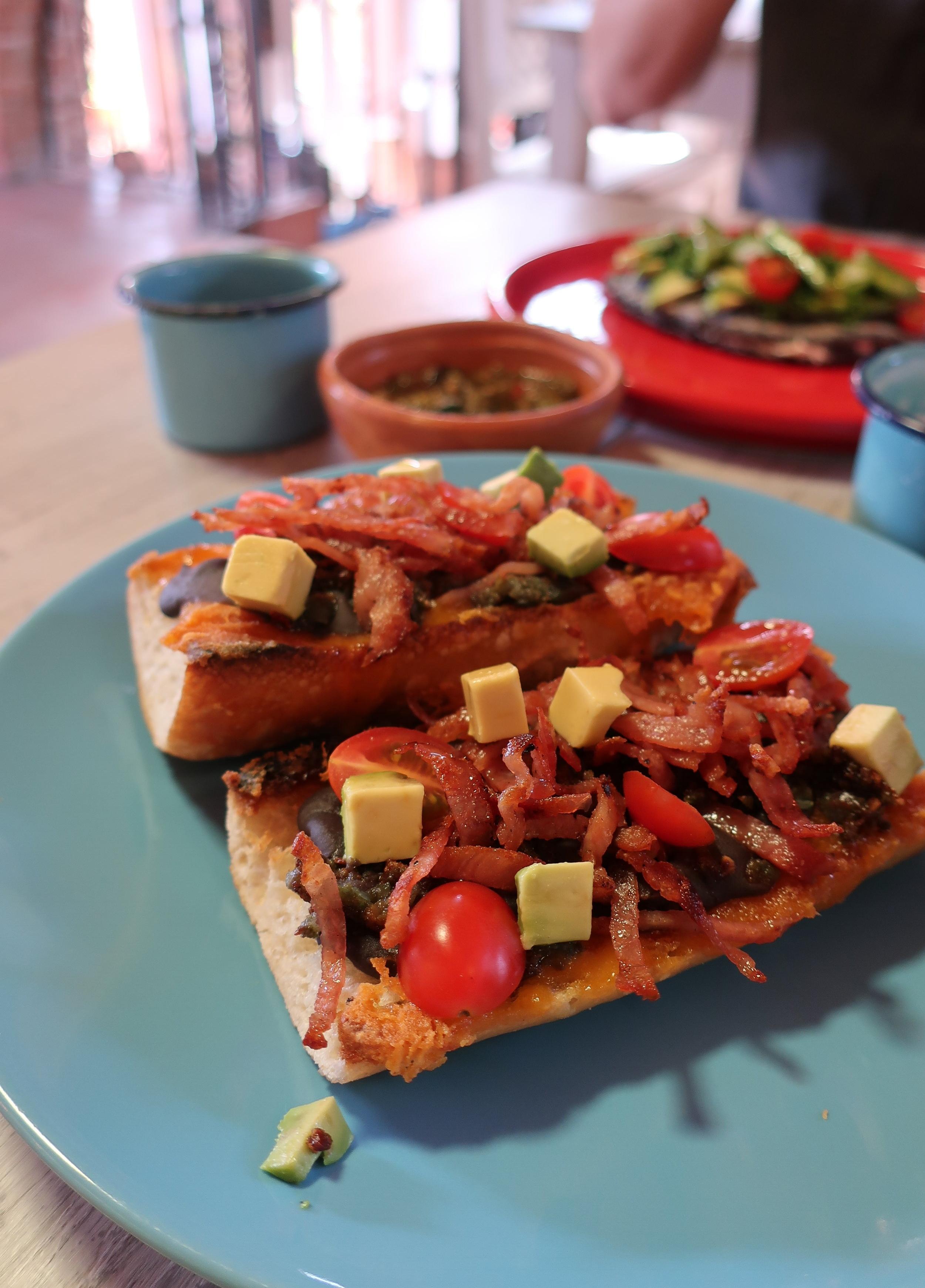 mollete for breakfast at nicasio comedor mexicano, san miguel de allende, mexico