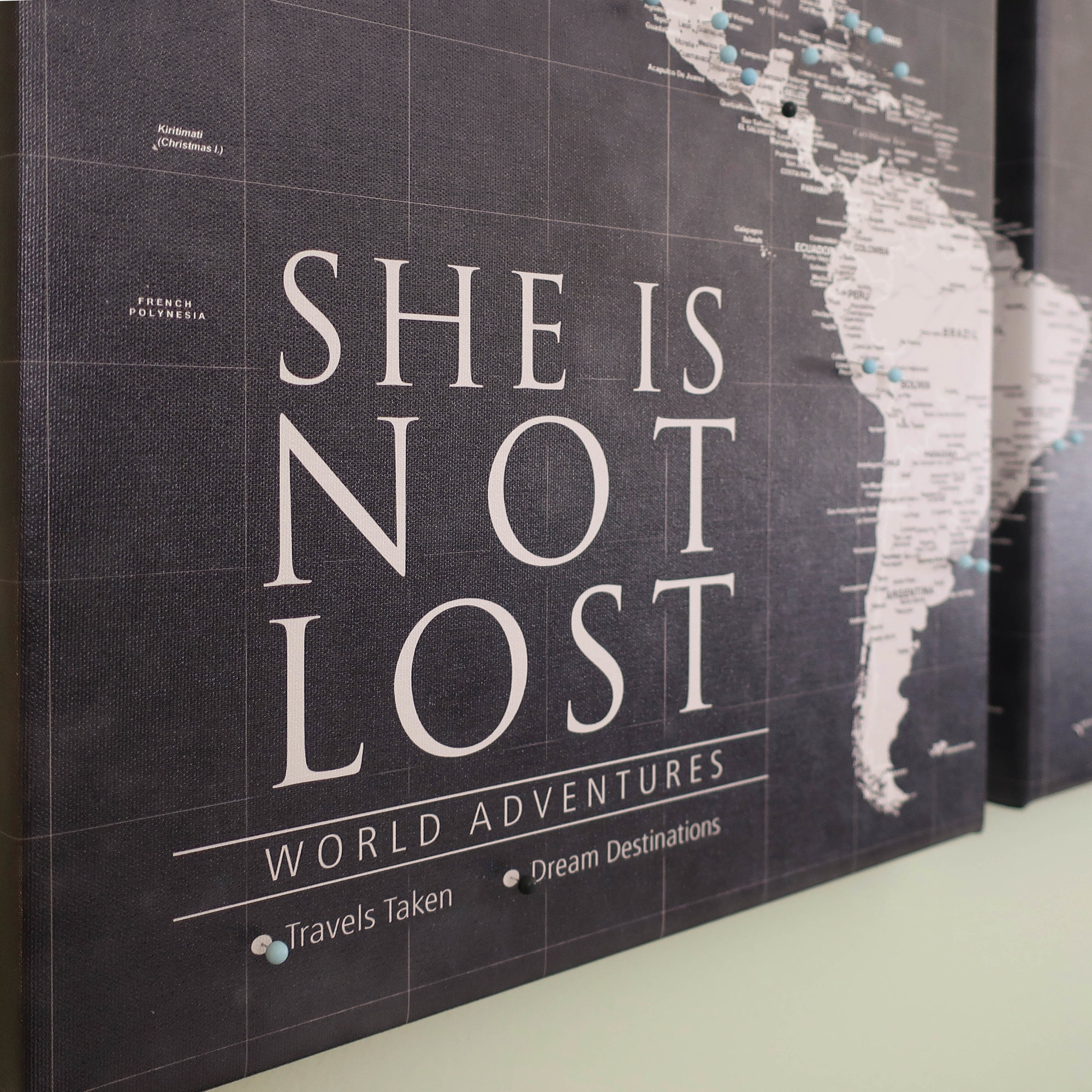 Maps from  Holy Cow Canvas  are customizable, you can choose to include your favorite travel quote or even your name. Create a legend that shows what the colors of the push-Pins mean.