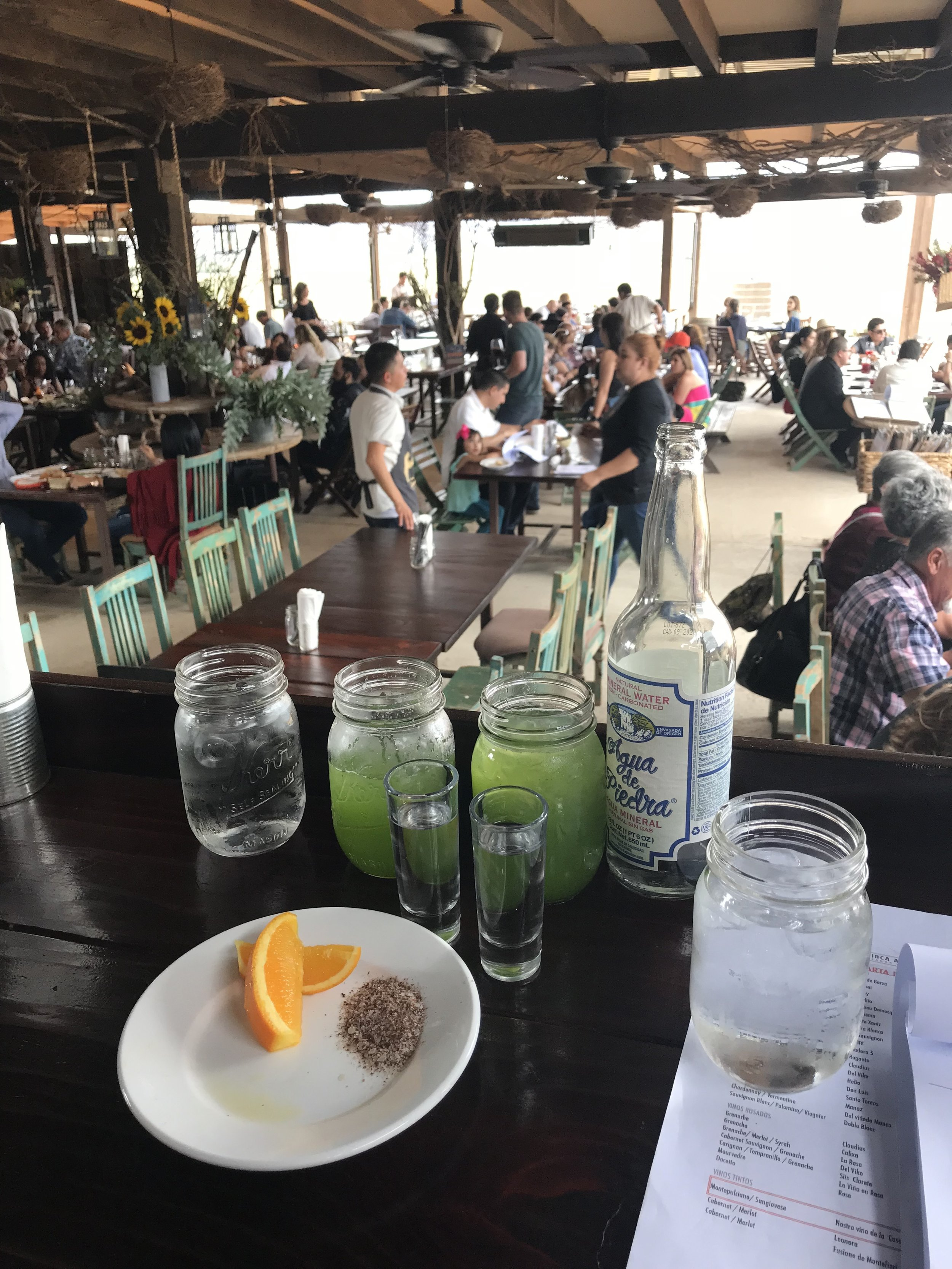 mexico's wine country serves more than just wine! pictured here is a tasting of mezcals and aguas frescas at finca altozano, valle de guadalupe.