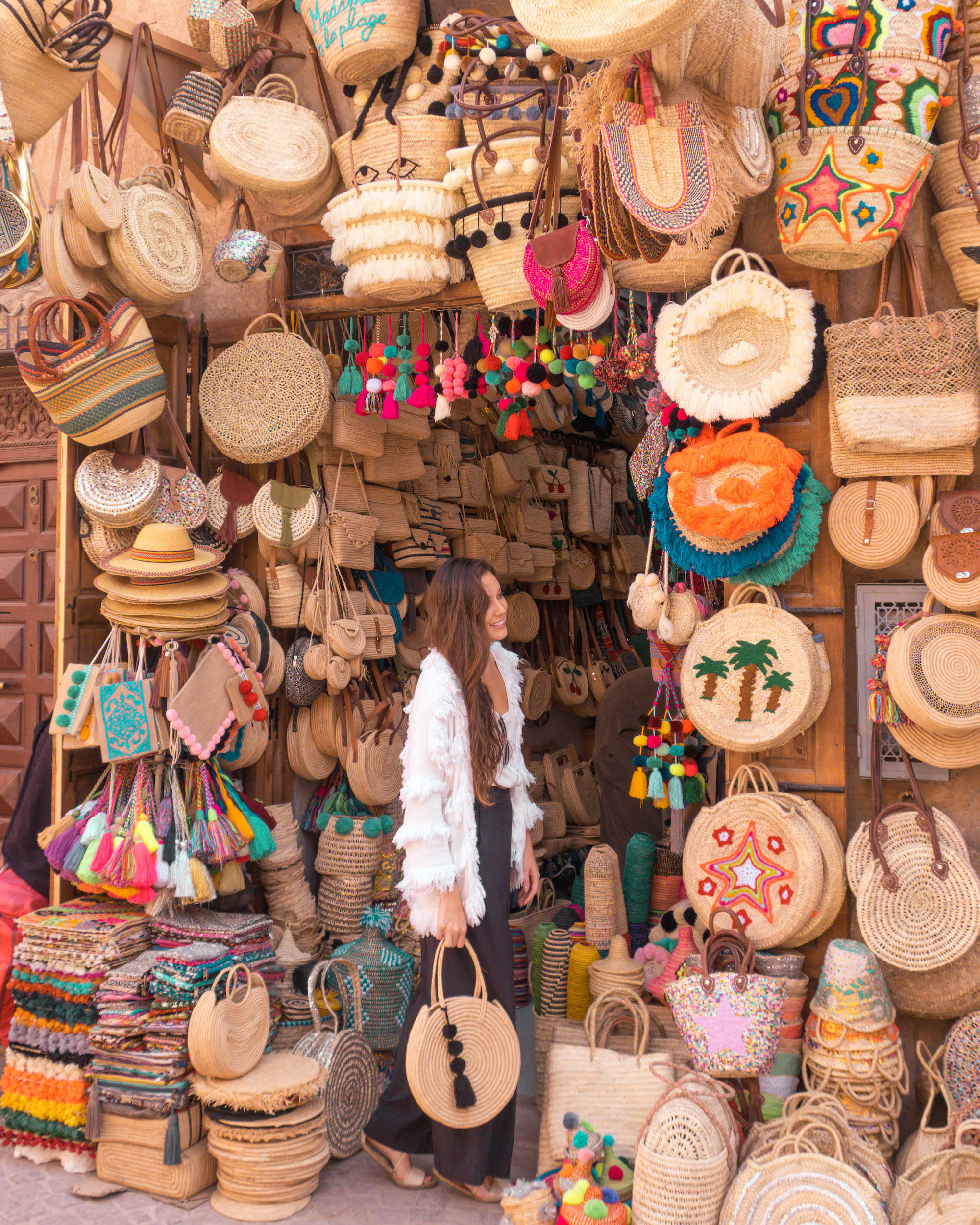 Straw bags in the Marrakech Souk. I chose the one I'm Holding here and purchased another as a gift for my sister.