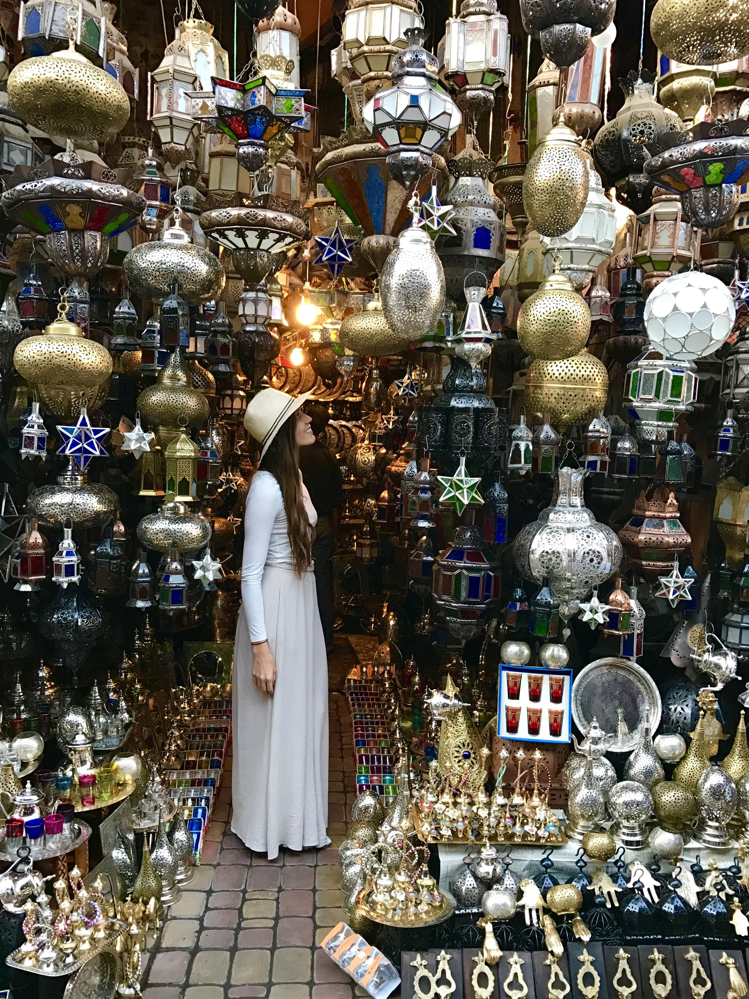 Lantern Shop in the Marrakech Souk. I bought tea glasses here, I was hooked on mint tea after my trip to morocco!