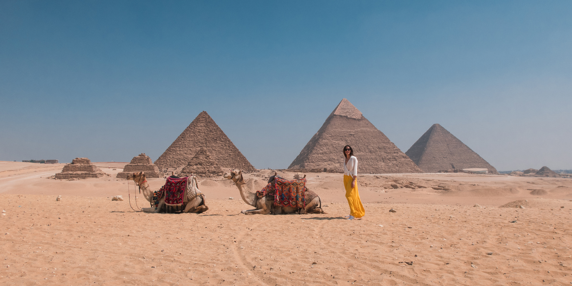 Carina Otero at the Great Pyramids in Egypt