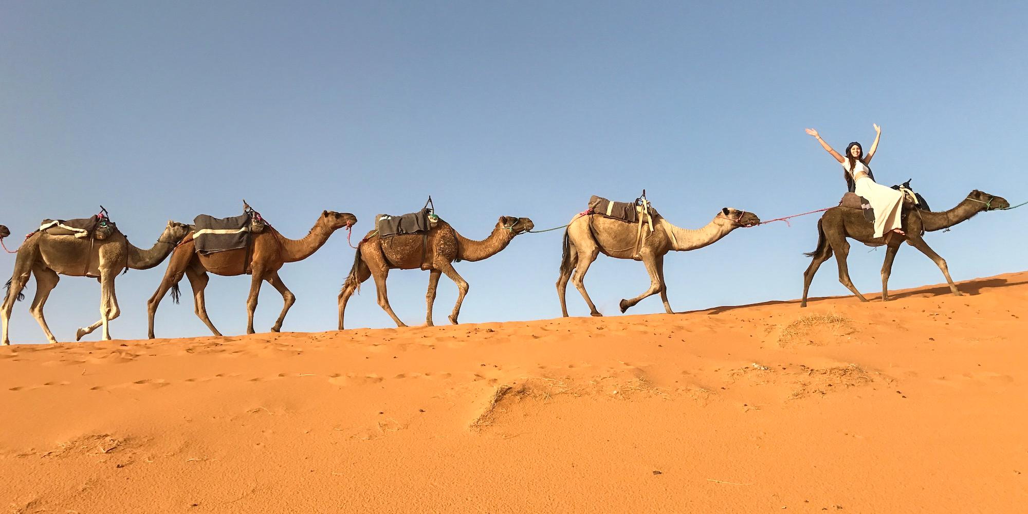 Carina Otero in the Sahara Desert in Merzouga, Morocco