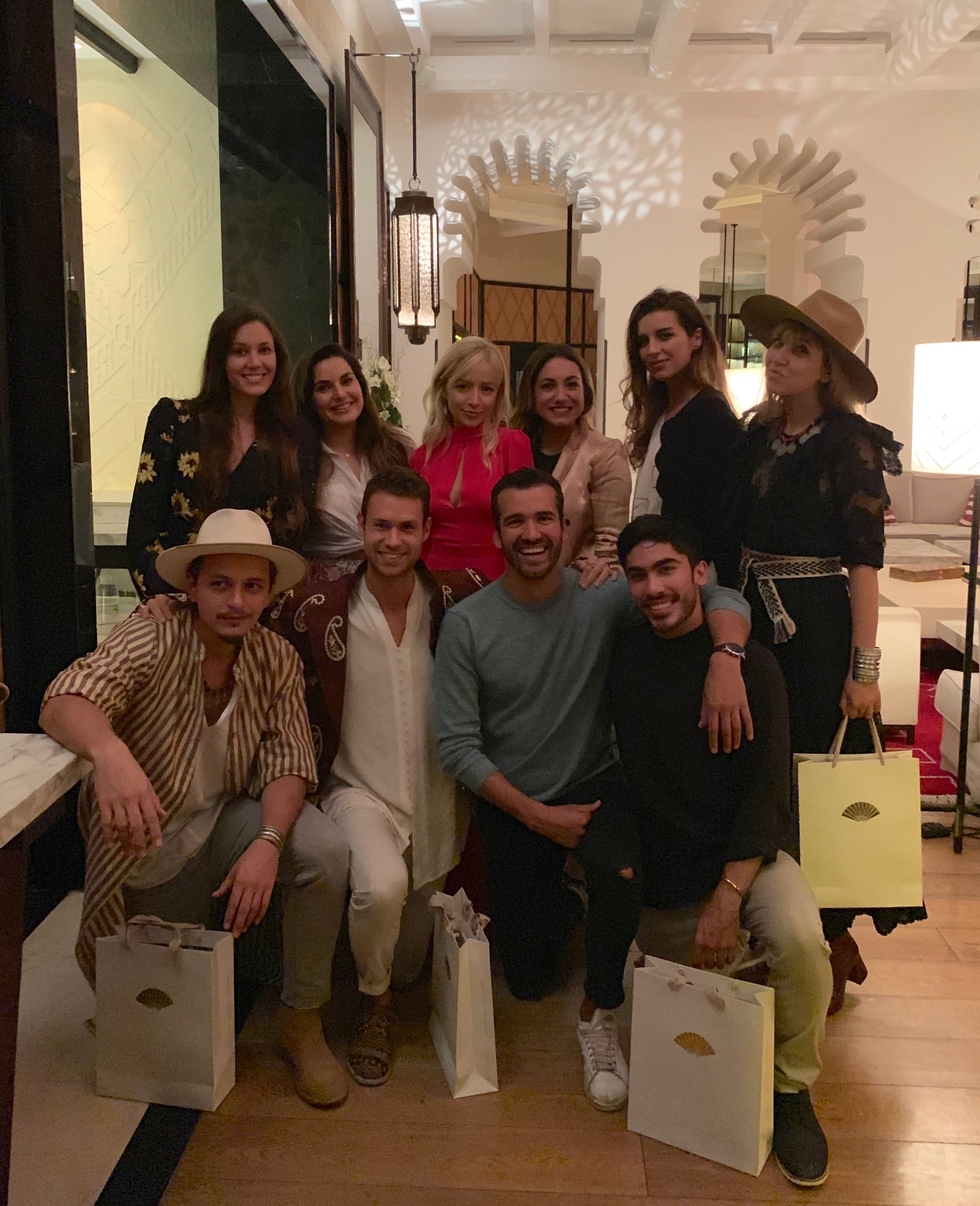 Clockwise from top left: Carina Otero, Raya Encheva, Aggie Lal, Carola Valls, Ketevan Giorgadze, Irina, Dakota Adan, Jonathan Kubben Quiñones, Jordan Taylor Wright, and Raresh at the Speakers' dinner at TIS Marrakech.