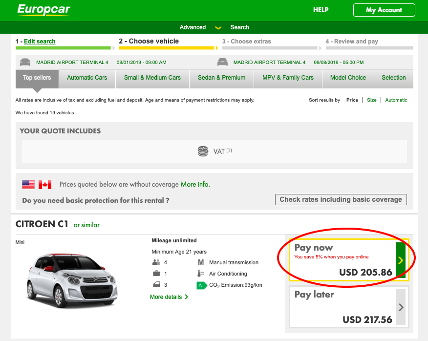 Comparing prices on Europcar's Desktop and Mobile Sites