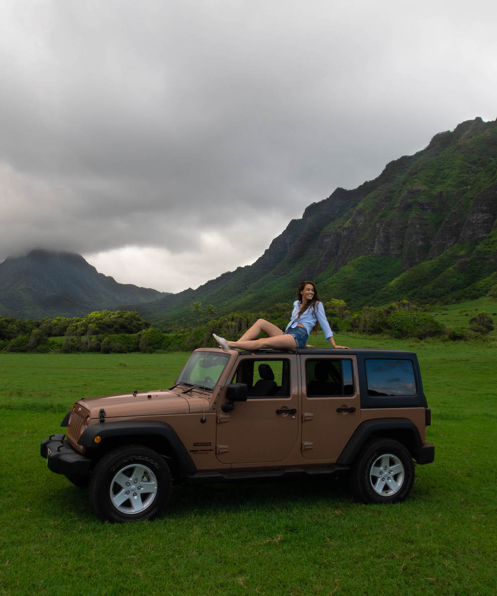 Carina Otero with a Jeep Rental from AVIS in Oahu, Hawaii