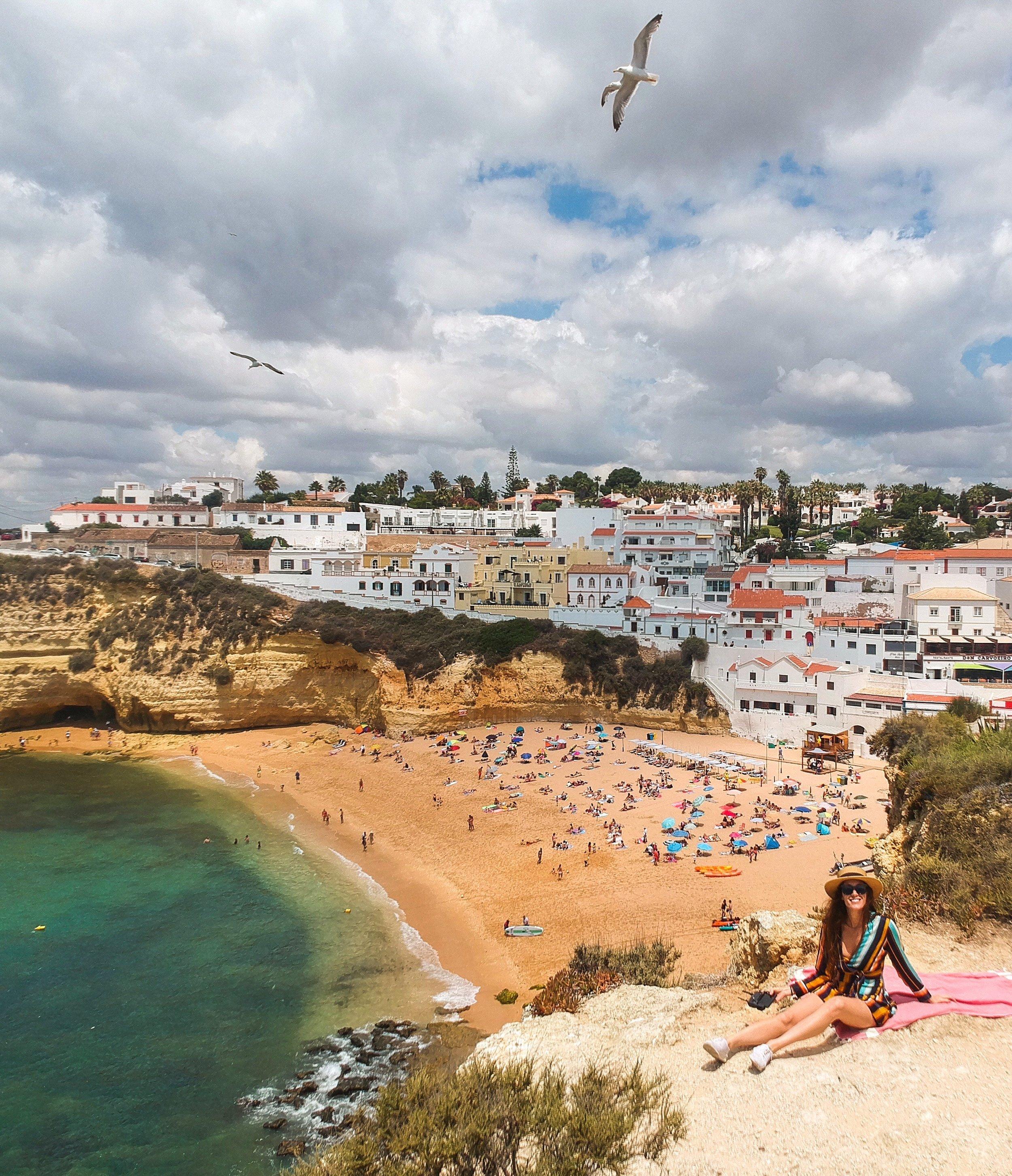 THe view of Praia de Carvoeiro, in Portugal's Algarve