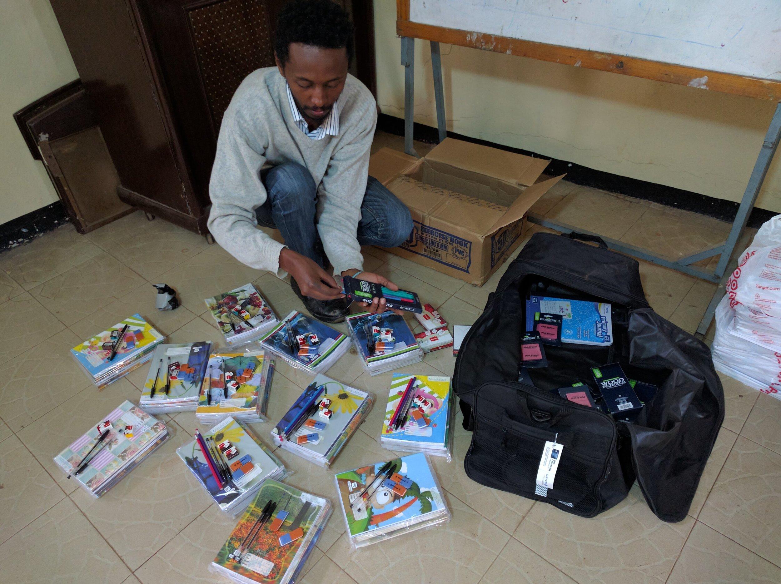 Sorting school supplies