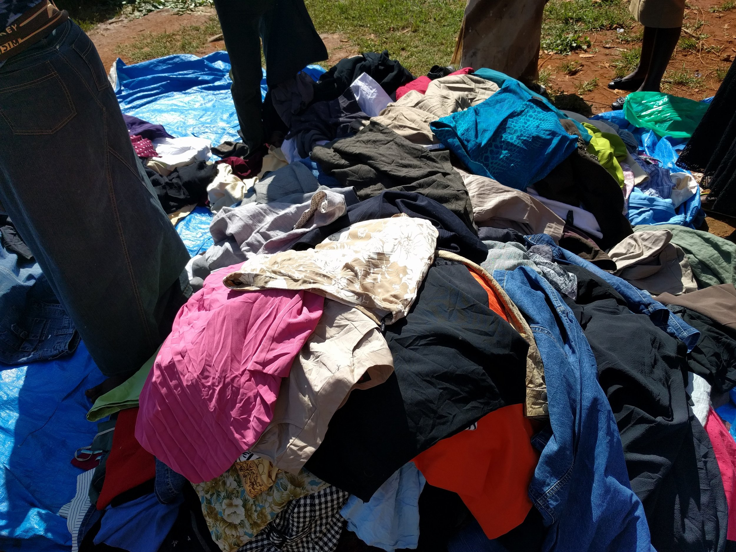 Market skirts all piled up to dig through