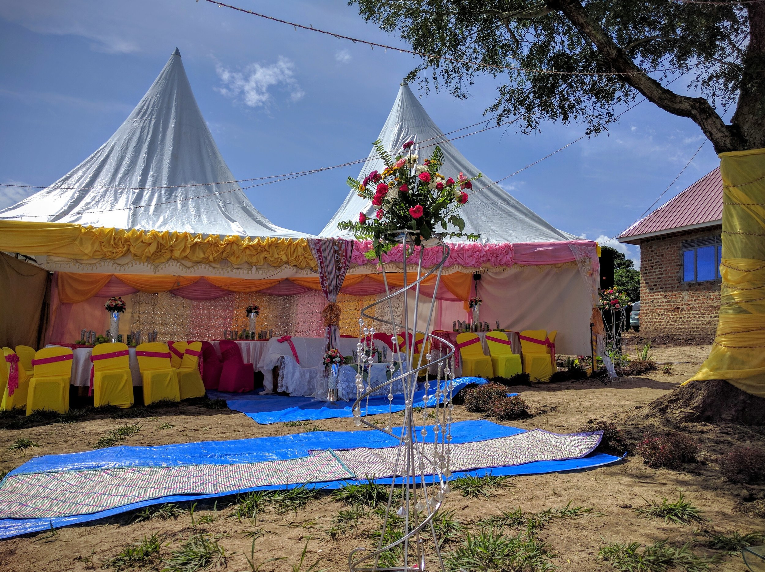 Inside view of the groom's family tent