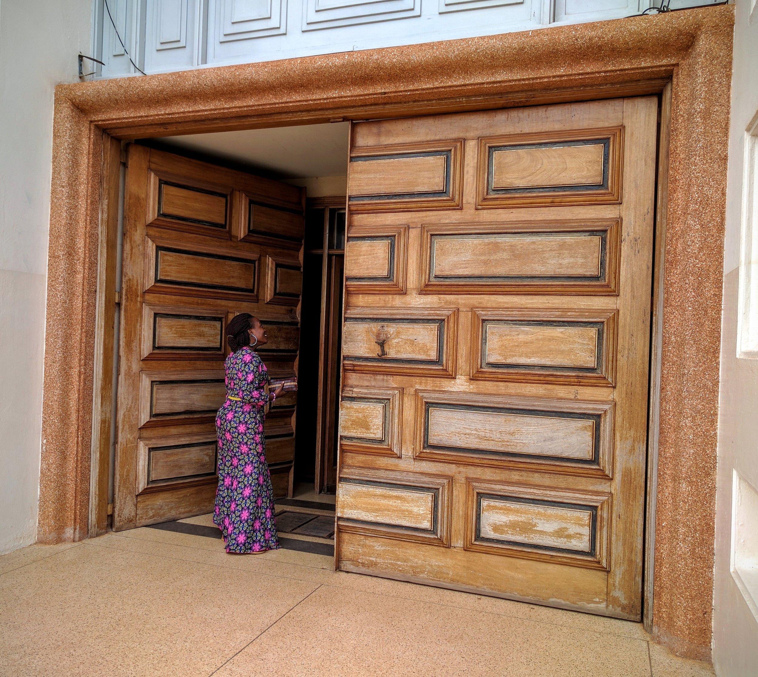 Amazing door with Margaret entering