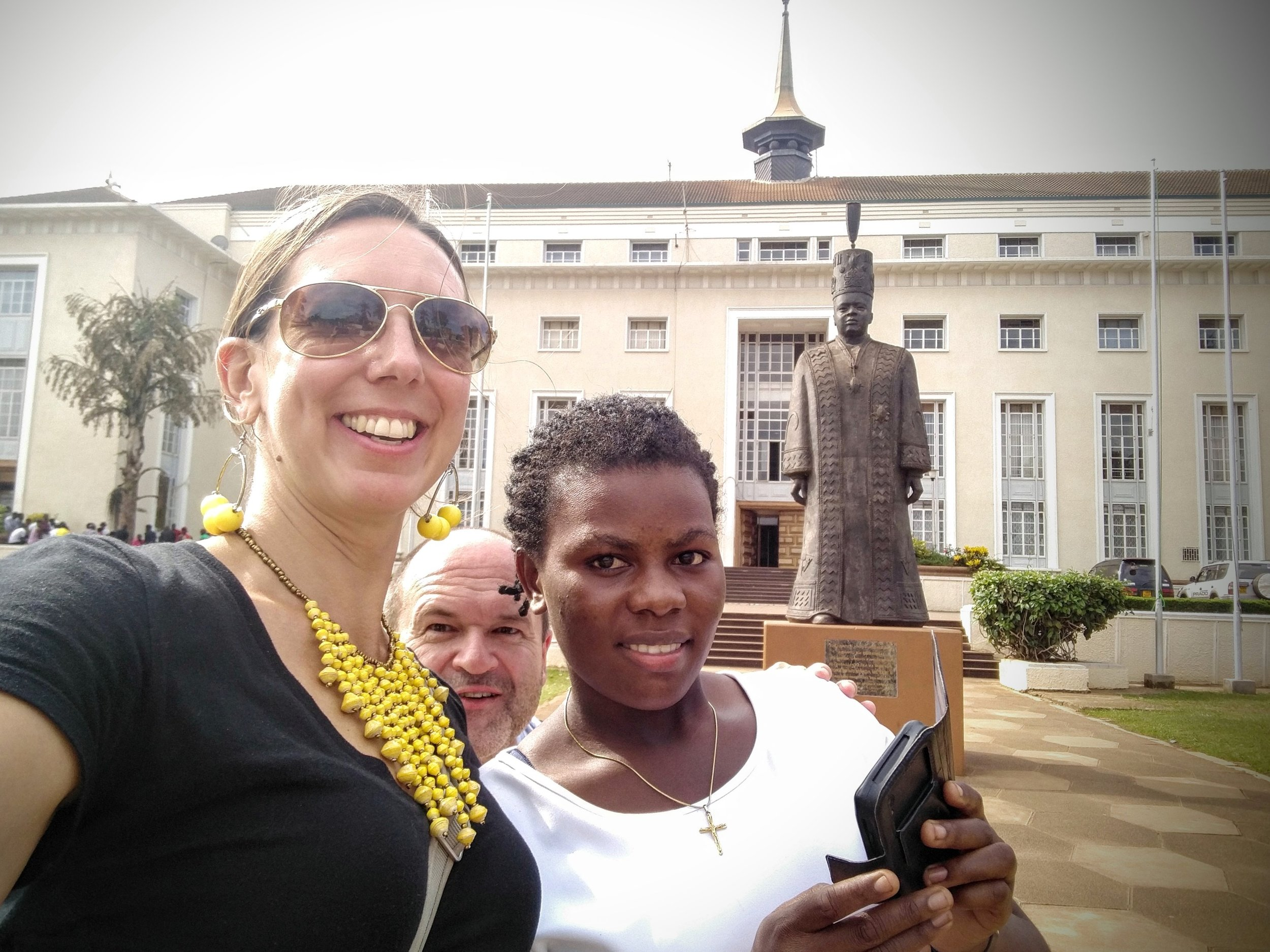 Selfie with Joan & I (and Randy's photo bomb) in front of the parliament building