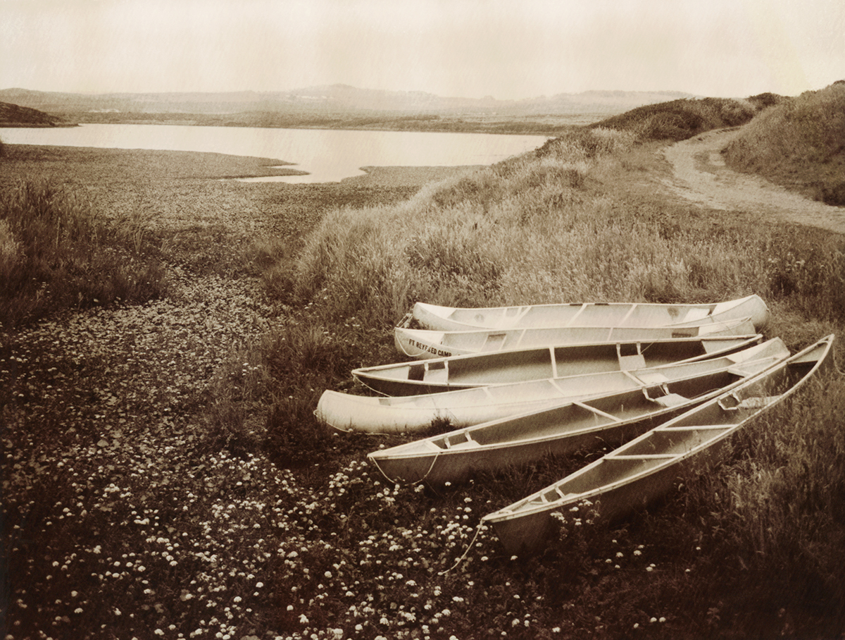 Canoes at Abbotts Lagoon, a 250-acre designated wilderness surrounded by working ranches.