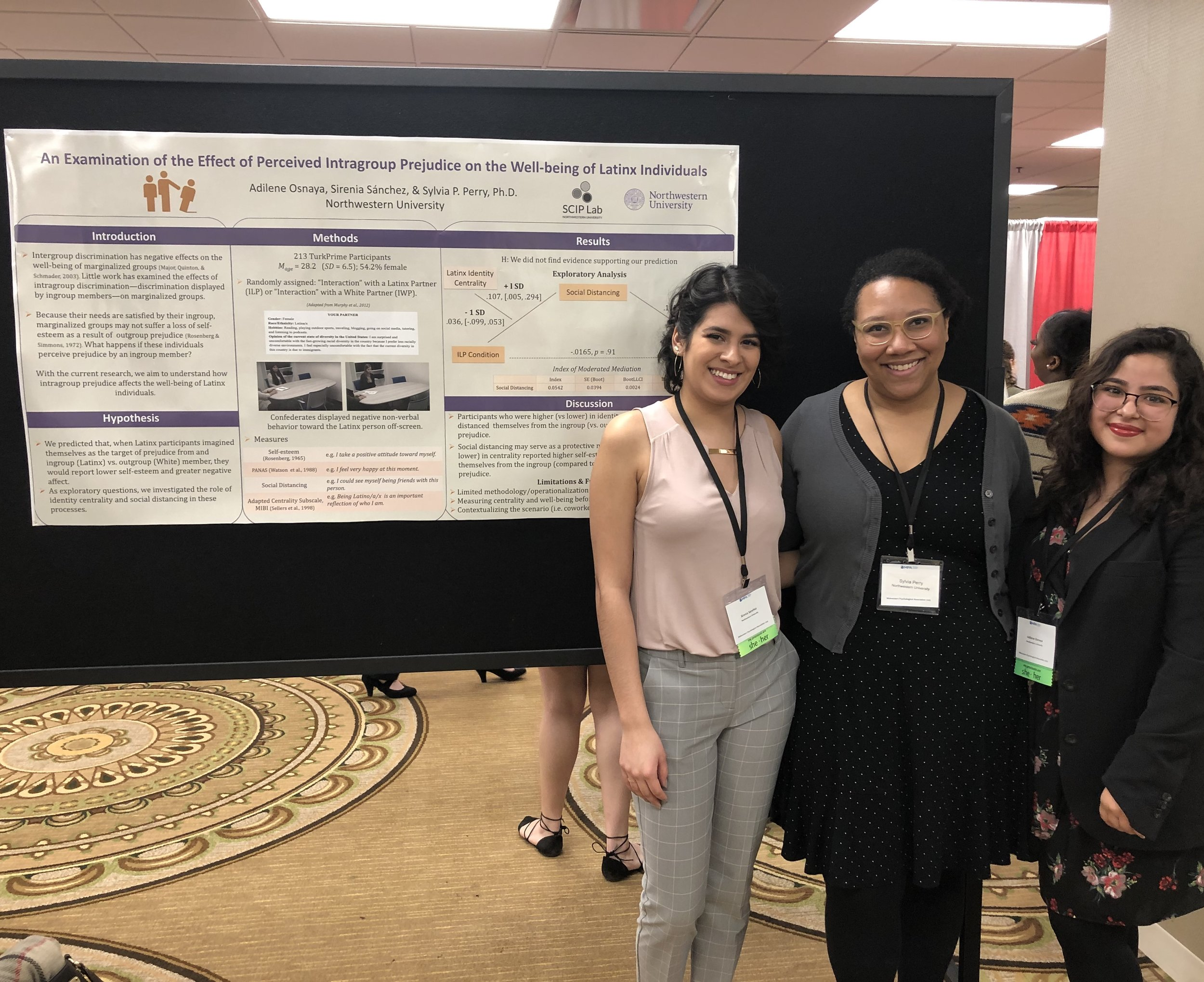 Adilene Osnaya and Sirenia Sanchez presenting a poster at MPA 2019