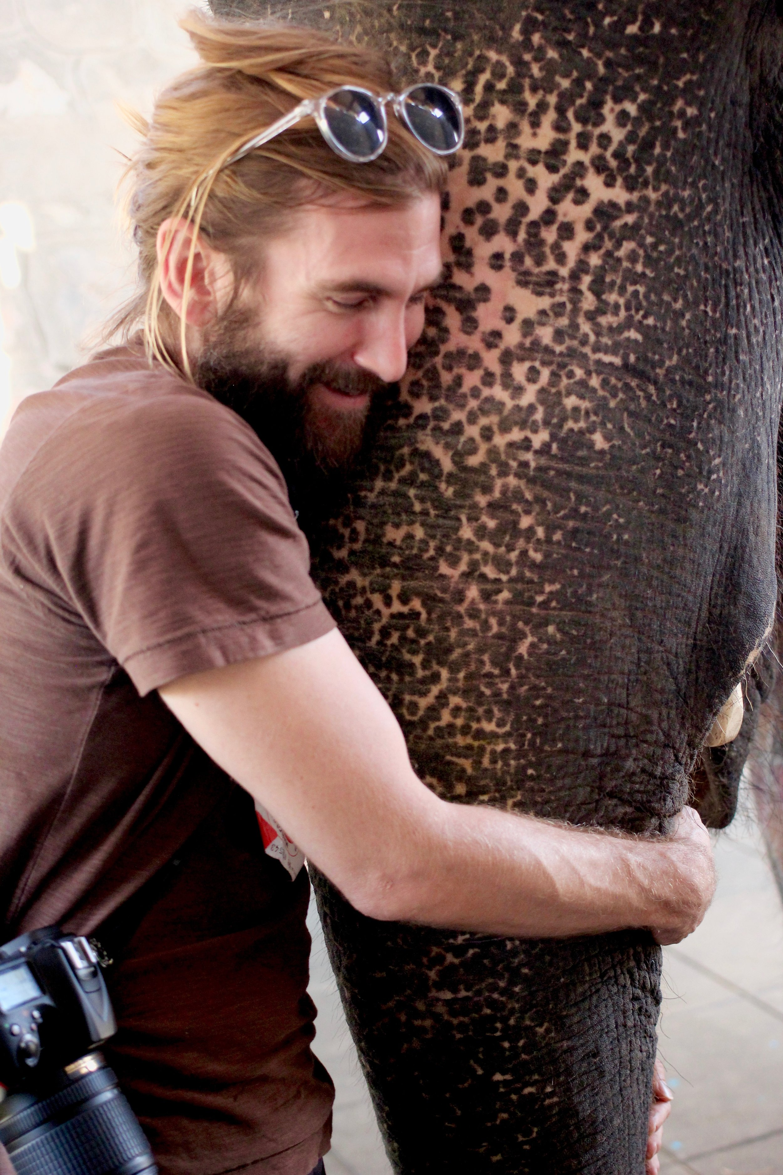 Wylie hugging his first real live elephant.
