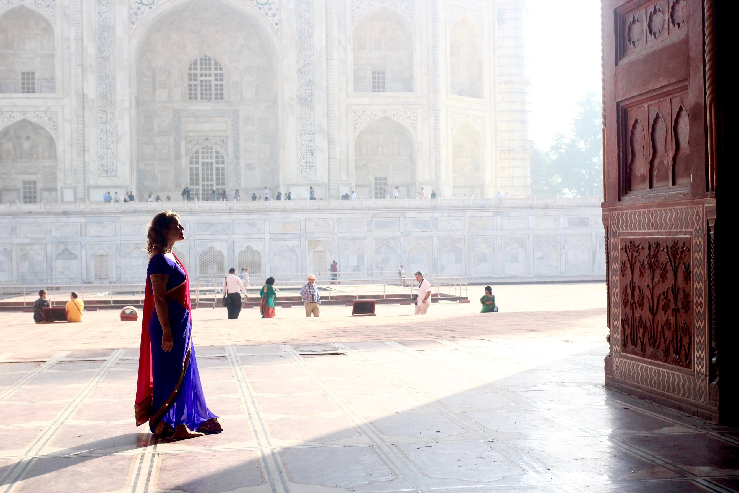 Nothing beats wearing your only and most beautiful sari inside the Taj Mahal.