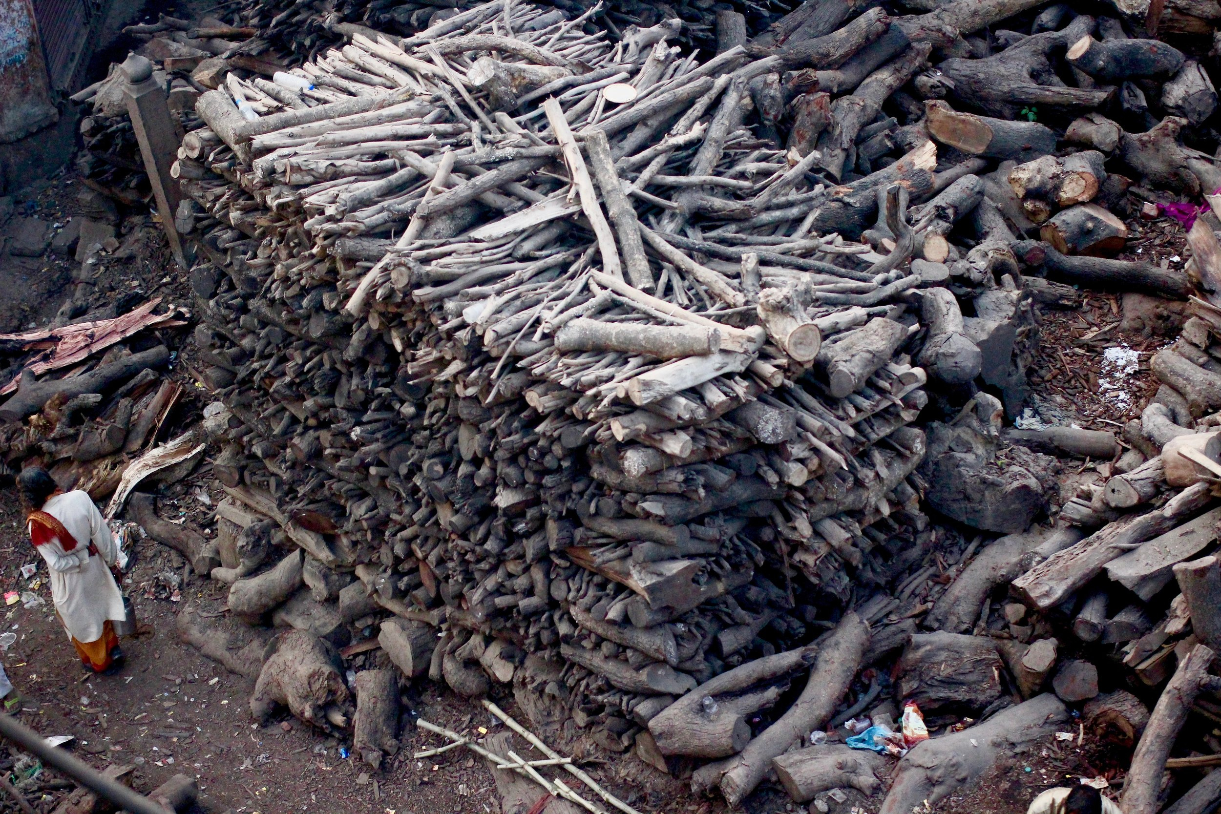 The wood that's chopped in preparation for the cremations on the Ganges River.