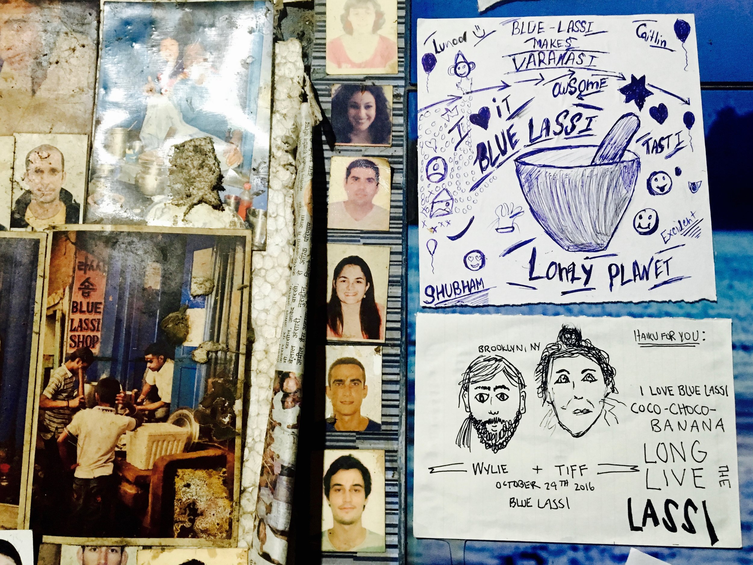 The little hole in the wall that is Blue Lassi Shop was plastered from head to toe in passport photos. We decided to leave a little memento in the form of hand drawn faces and a haiku.
