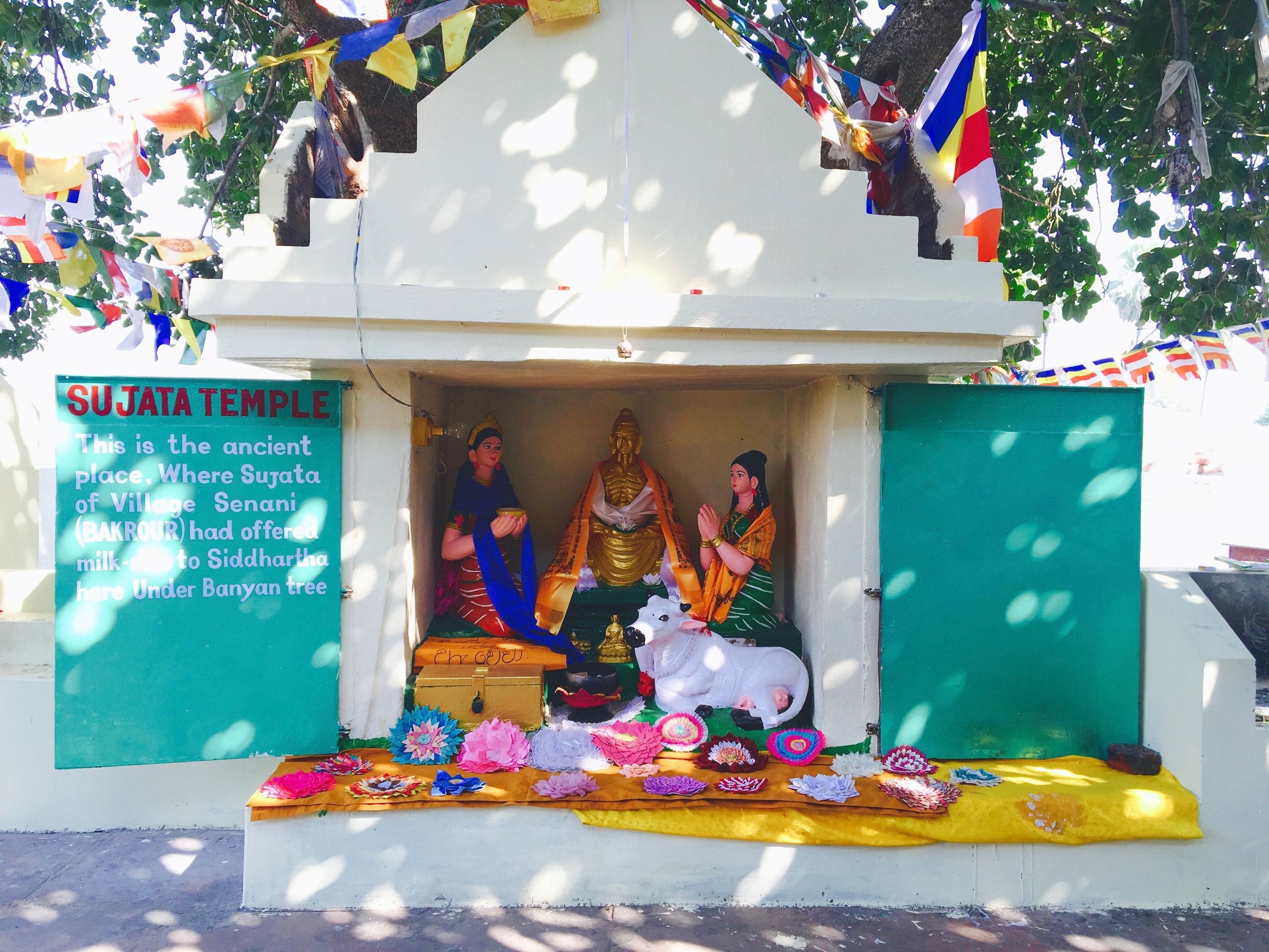 Arrived at Sujata Temple, where Buddha learned the Middle Way