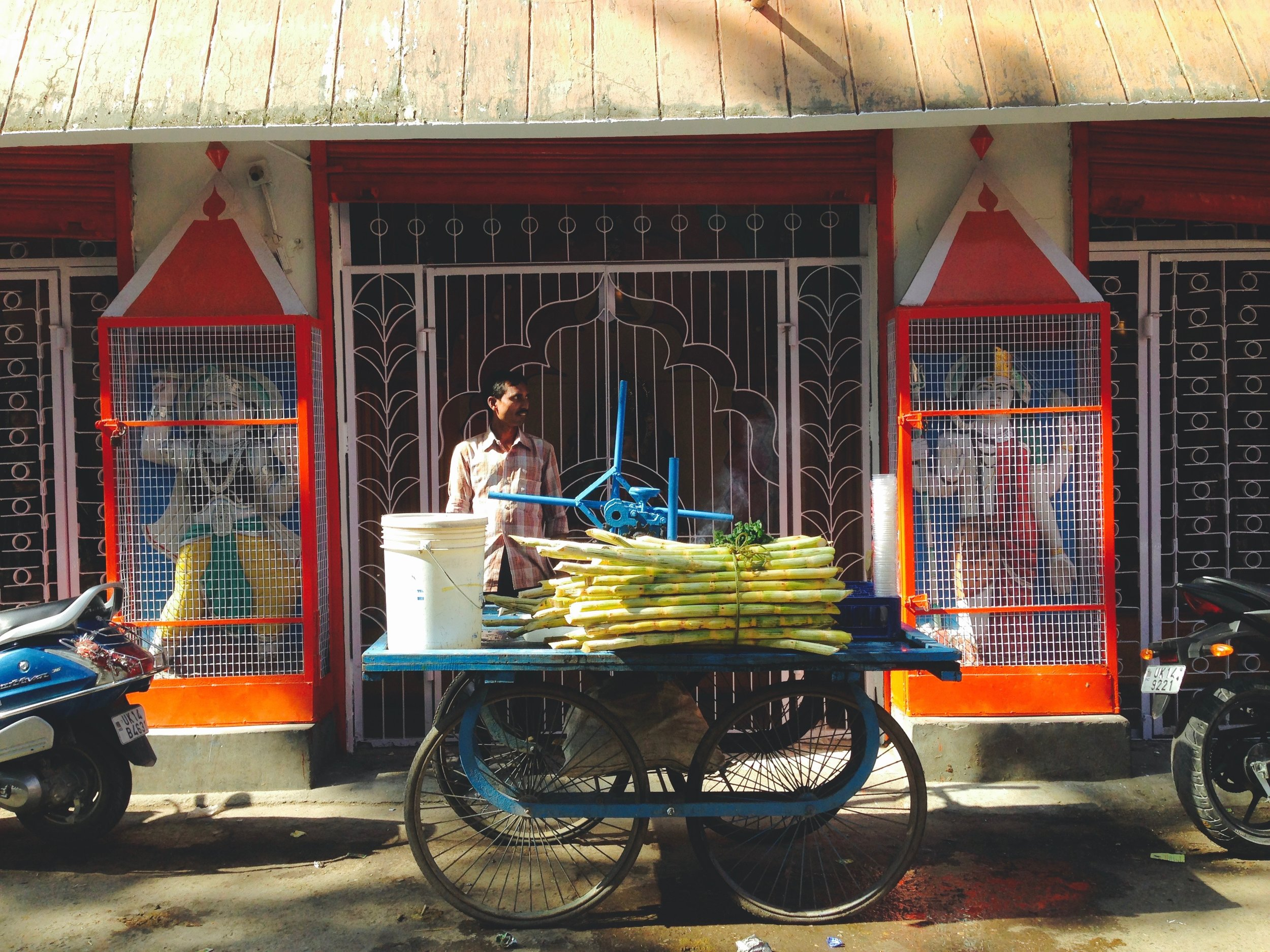 Sugarcane strands dot the streets of the city