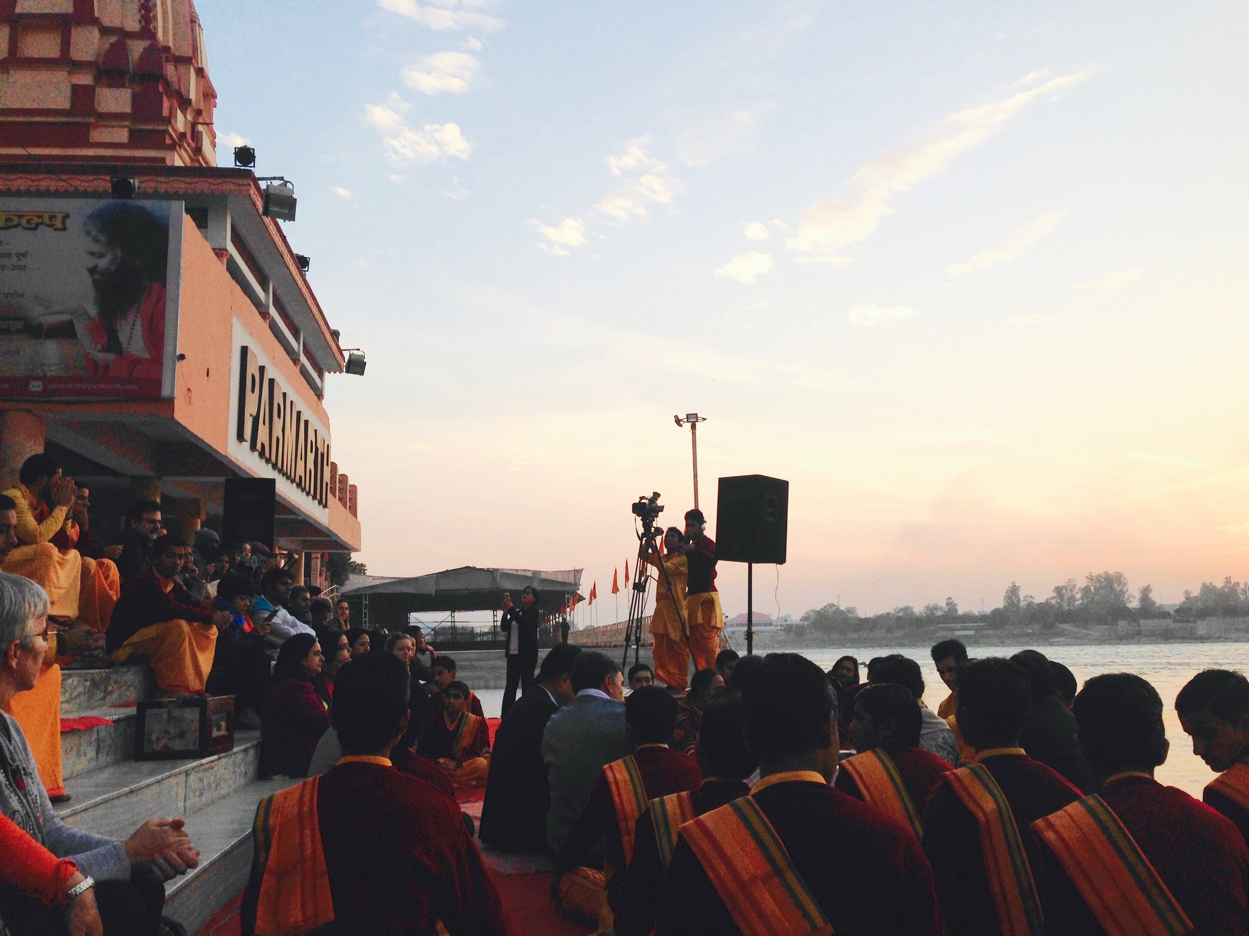 Famous fire puja on the Ganges at sunset.